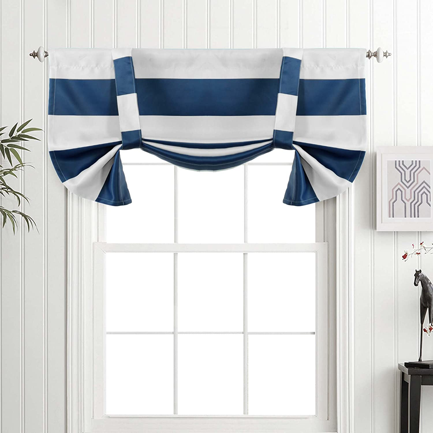 Turquoize Valances for Window Kitchen Valances Small Window Blackout  Curtains for Bedroom 52x24 Inch 1 Panels Strip-Navy