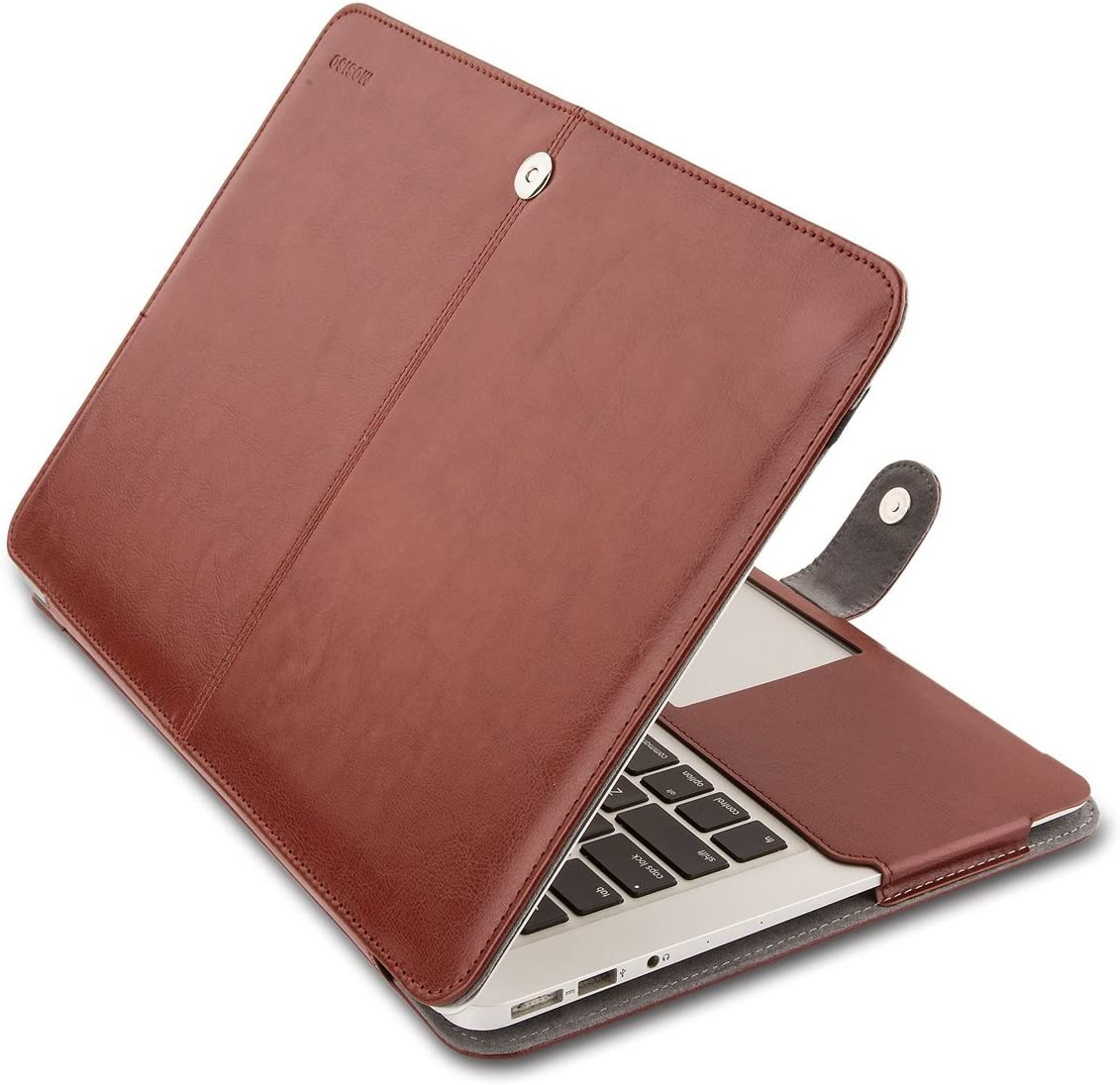 MOSISO MacBook Air 13 inch Case, Premium PU Leather Case Book Folio Protective Stand Cover Sleeve Compatible with MacBook Air 13 inch A1466 / A1369 (Older Version Release 2010-2017), Brown