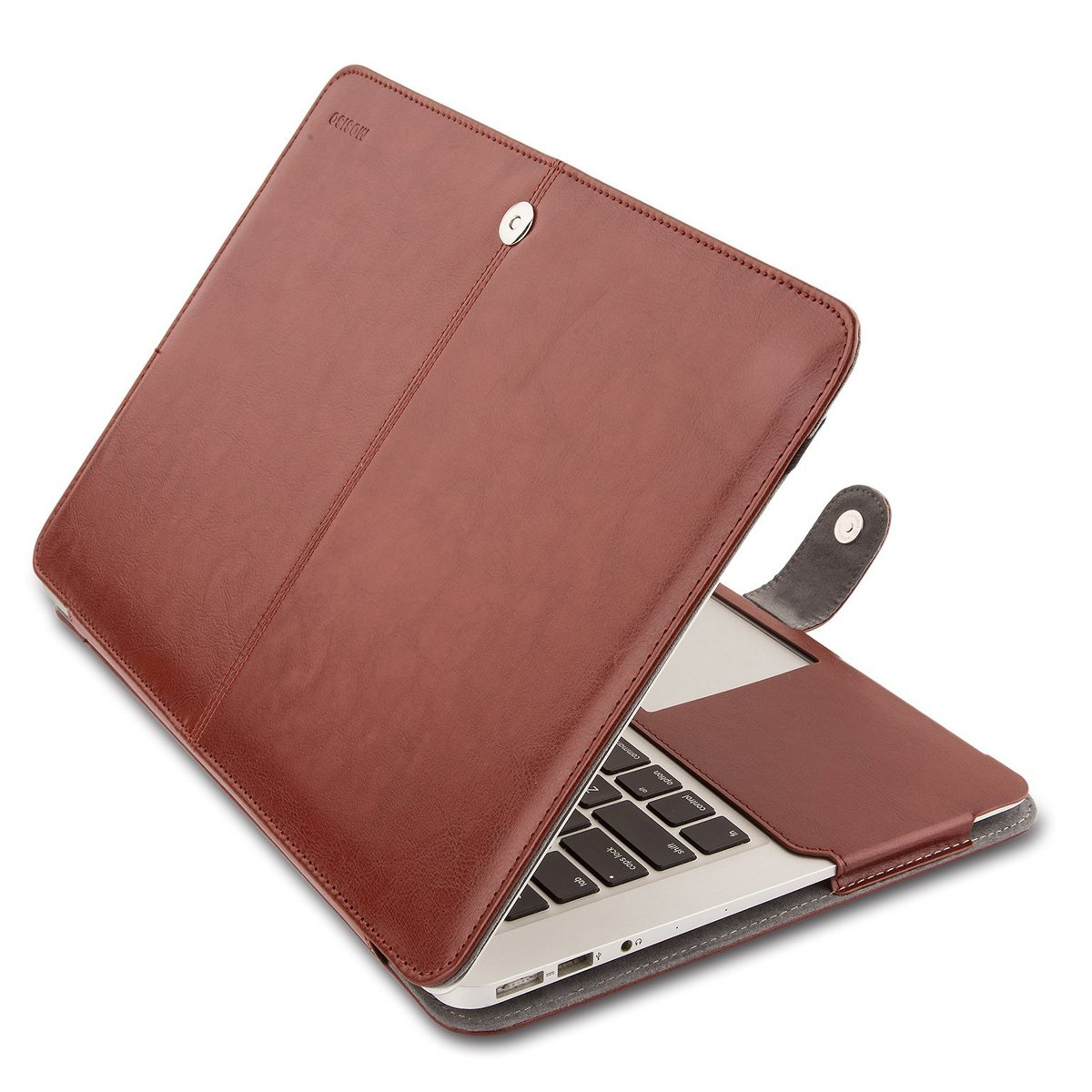 MOSISO PU Leather Case Only Compatible with MacBook Air 13 Inch A1466/A1369, Premium Quality Book Cover Folio Sleeve with Stand Function, Brown