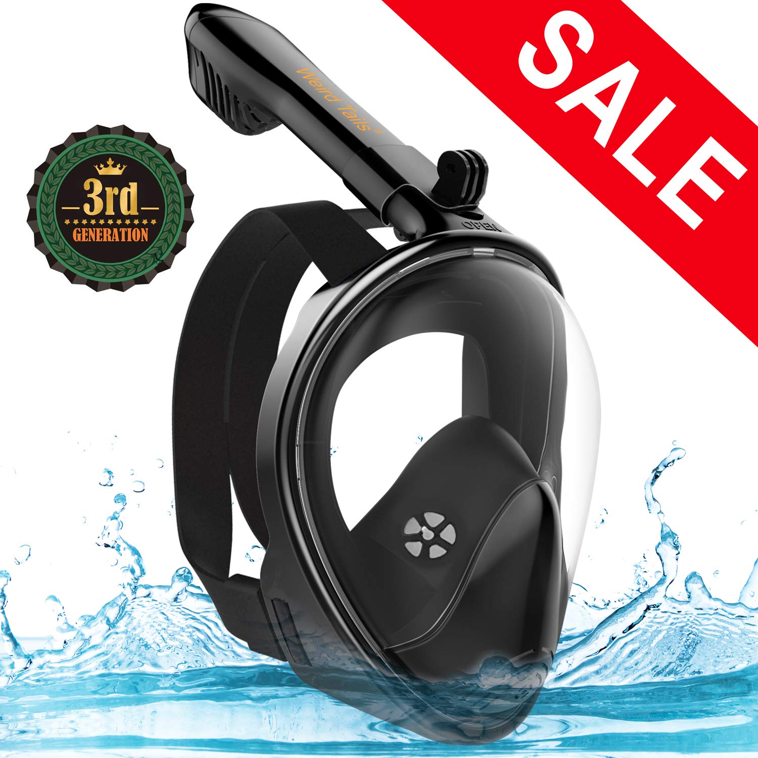 weird tails 2019 Upgraded Full Face Snorkel Mask Foldable Snorkeling Mask for Adults Kids with Camera Mount 180° Large Panoramic View Easy Breath Dry Top Set Anti-Fog Anti-Leak by weird tails