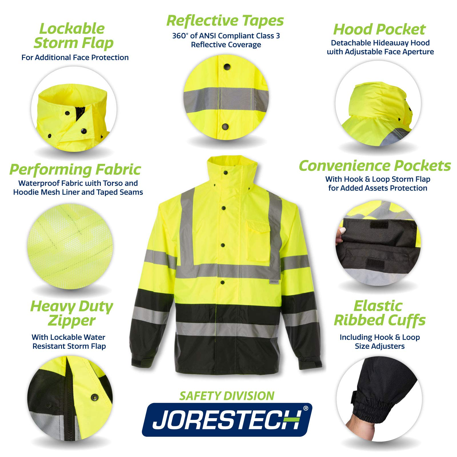 JORESTECH High Visibility Light Weight Waterproof Rain Jacket ANSI/ISEA 107-2015 Class 3 Level 2 Yellow/Black (Large)