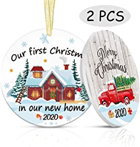 First Christmas in New Home 2020 Ceramic Christmas Ornament Newlywed Wedding Gift Xmas Tree Ornament Decorations Couples Gift (Home 2pcs)
