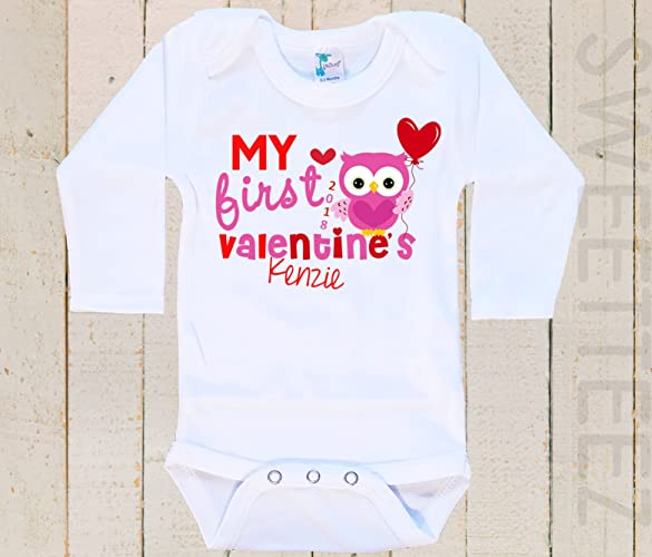 09ef311c0 Amazon.com: My first Valentine's Baby Bodysuit Baby Girl Boy Heart ...