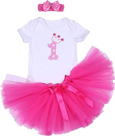 BABYPREG 3PCs Baby Girls 1st Birthday Tutu Dress Romper Skirt Headband Outfit