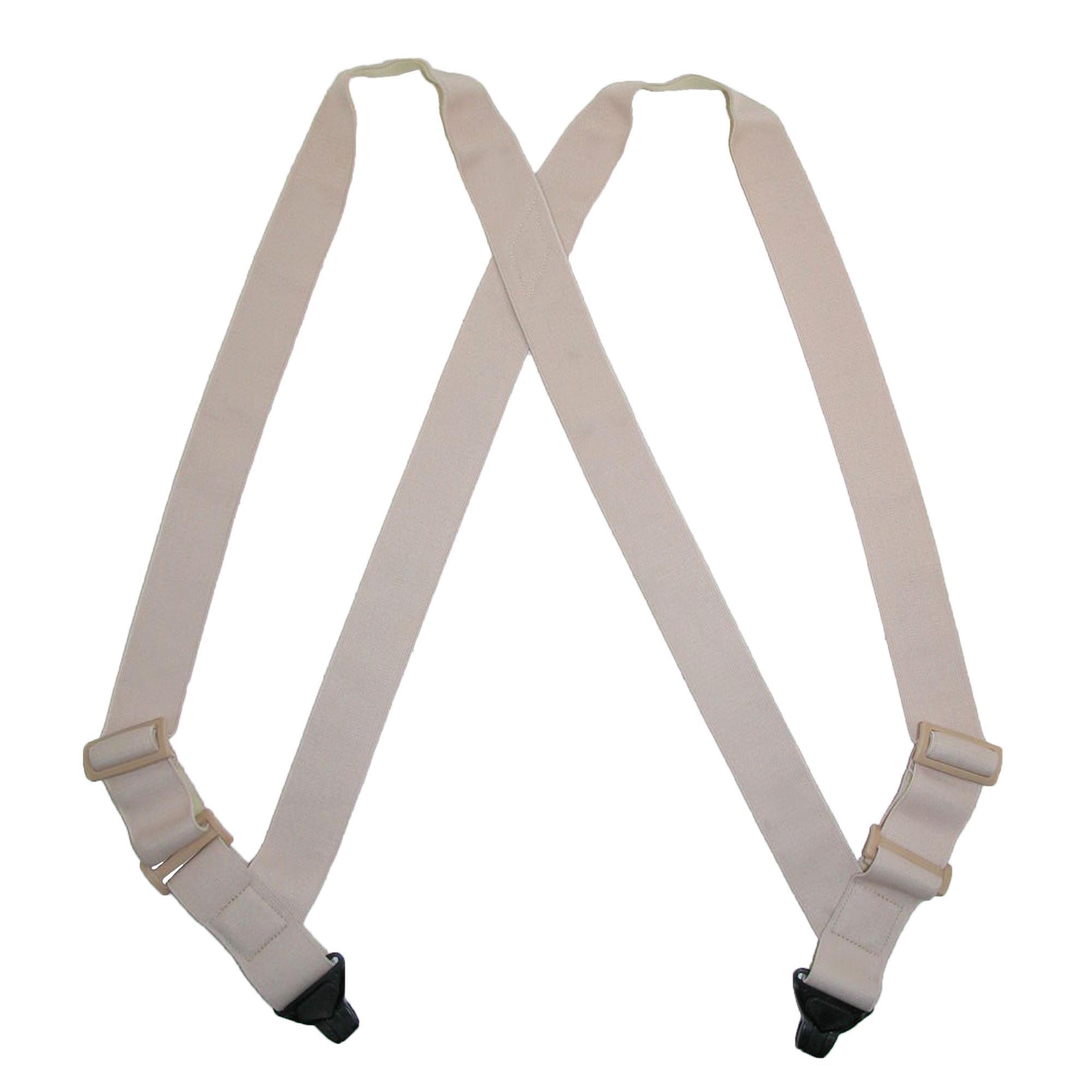 CTM Men's Undergarment TSA Compliant Side Clip Airport Suspenders, Beige