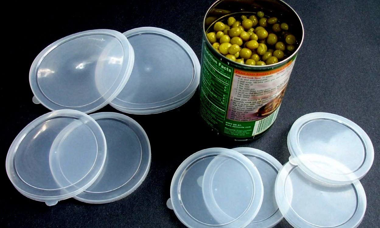 Set of 6 Can Covers Pet Food Plastic Lids Canned Goods Asst Sizes by Al-De-Chef