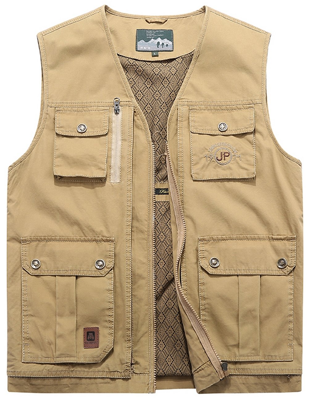 DHYZZ Men's Casual Big Capacity Multi Pocket Cotton Fishing Vest Outdoor Sports Waistcoat Oversize Gilet Lightweight Sleeveless Tops Jacket