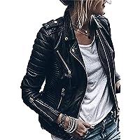 CORAFRITZ Chaqueta clásica de piel sintética para mujer, con bolsillos con cremallera, para mujer, de piel sintética…