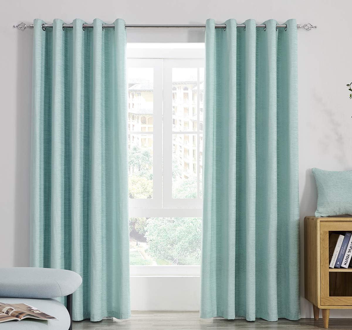 Super Soft Light Chenille Lined Eyelet Curtains Duckegg Blue, Window Treatment Blinds 2 Panels Floor Curtain for Bedroom, Livingroom, Kids Nursery Room 46x54 inch Duckegg 46x54