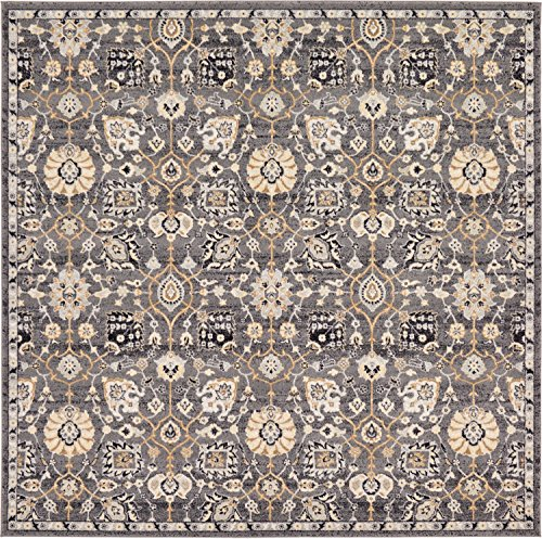 Unique Loom Tradition Collection Classic Floral Gray Square Rug (8' x 8') (Rug Square Gray)