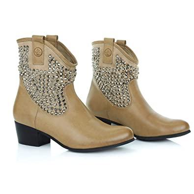 4ca74e2d498 BS BE SPARKLE Ankle Boots Low Heel Suede for Girls and Women-Cowboy Western  Style-Comfortable All Day Walking Booties