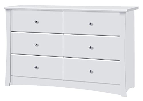 Storkcraft Crescent 6 Drawer Dresser, White, Kids Bedroom Dresser with 6 Drawers, Wood and Composite Construction, Ideal for Nursery Toddlers Room Kids Room