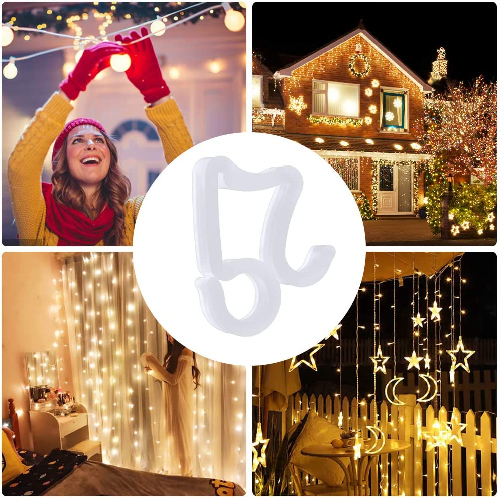 Meetory 100 Pieces Christmas Mini Gutter Hang Hooks Halloween Decoration Outdoor String Lights Weatherproof Plastic Light Clips Hooks for Xmas