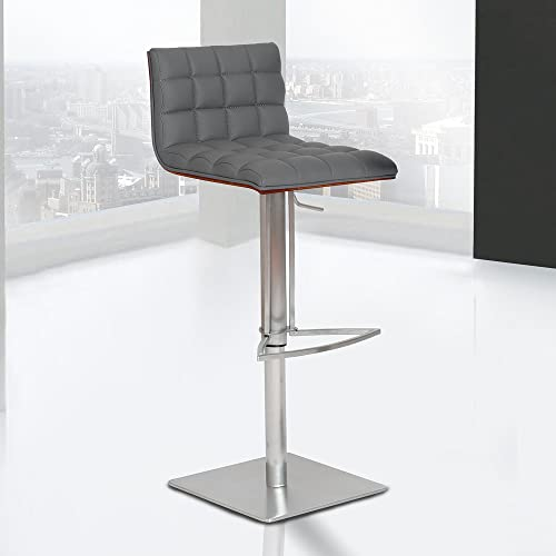 Armen Living LCOSSWBAGRB201 Oslo Adjustable Barstool in Grey Faux Leather and Brushed Stainless Steel Finish