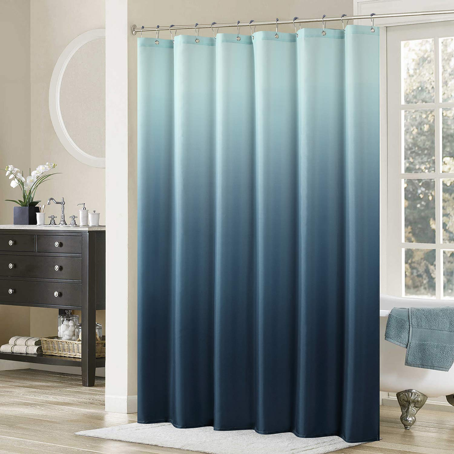 DS BATH Ombre Shower CurtainPopular CurtainMildew Resistant Fabric Curtains For BathroomContemporary Bathroom CurtainsPrint Waterproof