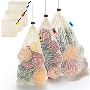 Reusable Cotton Mesh Produce Bags - Natural Durable Cotton See-Through Mesh Produce Bags with Tare Weight on Tags Eco Friendly Recyclable Packaging Bags for Grocery Shopping & Storage Set of 9