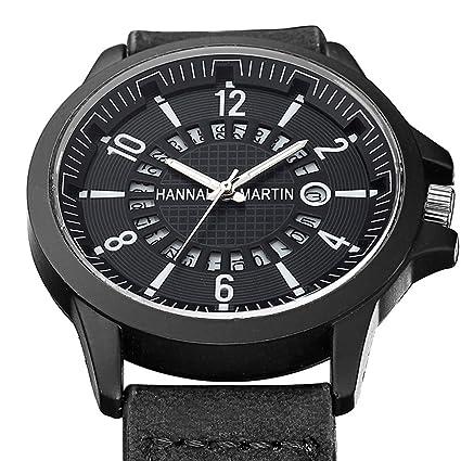 SW Watches Relojes Deportivos para Hombres,Banda De Cuero Esmerilado Reloj De Pulsera con Dial