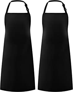 Syntus 2 Pack Adjustable Bib Apron Waterdrop Resistant Unisex Cooking Kitchen Aprons for BBQ Drawing, Women Men Chef, Black