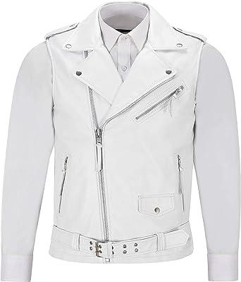 Men s Coat Jacket Leather Vest Waistcoat Biker Casual Slim Fit Lambskin Black 14