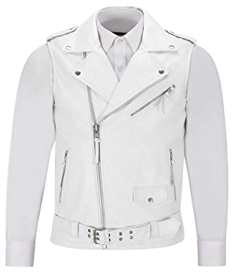 1445c55ab3d3 Smart Range Men's Brando White Motorcycle Biker Steam Punk Real Nappa  Leather Waistcoat 1025 (S
