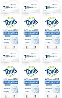 product image for Tom's of Maine Natural Deodorant Stick, Unscented, 2.25 Ounce, Pack of 6