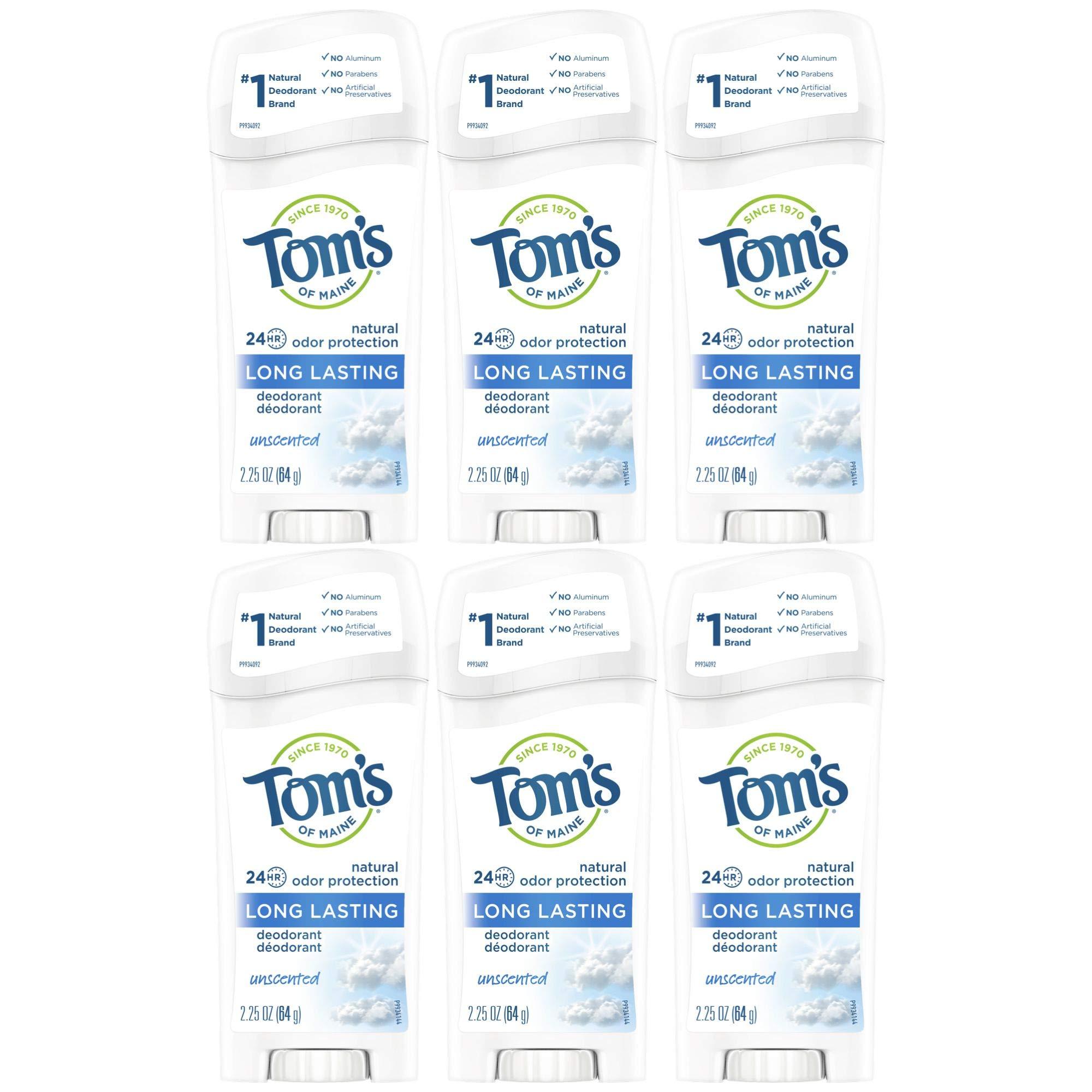 Toms Of Maine Natural Long-Lasting Deodorant Stick Unscented - 2.25 Oz (64 G) (6 sticks)