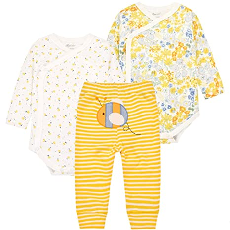 Bebé Body Manga Larga y Pantalones 3 Piezas Conjuntos de Ropa Recién Nacido Algodón Pijama Set