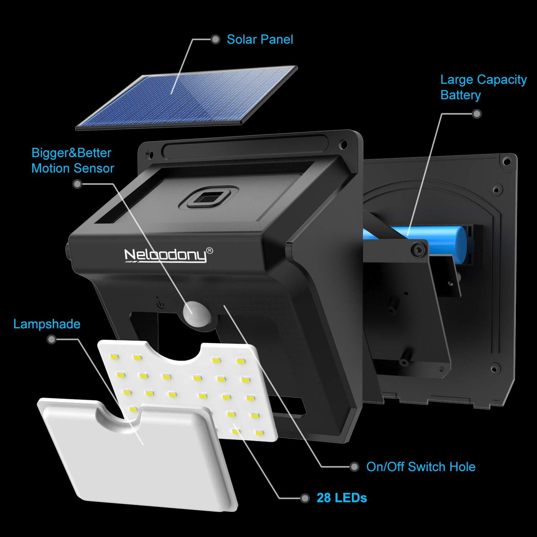 Amazon.com: Neloodony - Lámpara solar de pared con sensor de ...