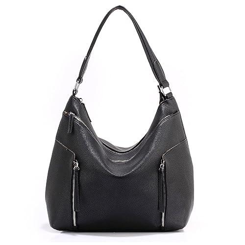 eb8ec09ca2a Xardi London Black Large Ladies Hobo Bag Soft Faux Leather Women Twin  Handle Shopper Day Handbag