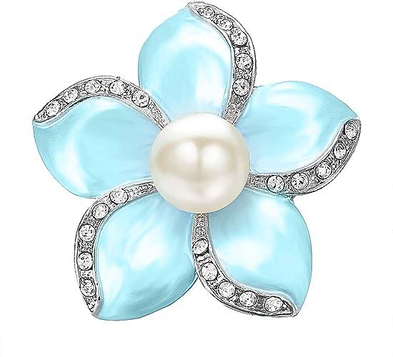 Hot Chic Pearl Crystal Rhinestone Brooch Pin Silver Wedding Bridal Bouquet Gift