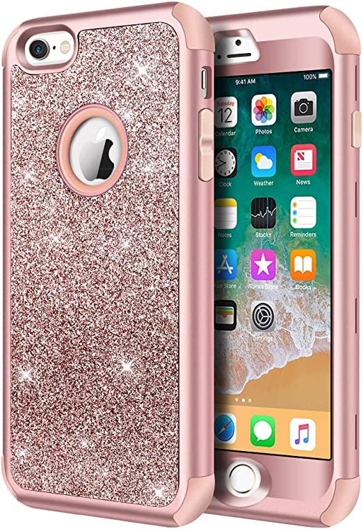 Hython Compatible with iPhone 6/6s Case, Heavy Duty Full-Body Defender Protective Case Bling Glitter Sparkle Hard Shell Hybrid Shockproof Rubber ...