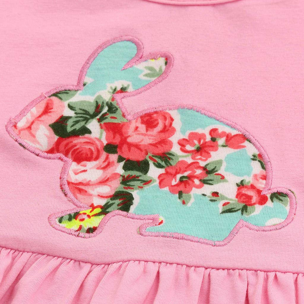 Kaicran 3 Pcs Kids Baby Girls Easter Rabbit Outfits Set Long Sleeve Irregular Dress,Pants and Headbands Cute Clothes