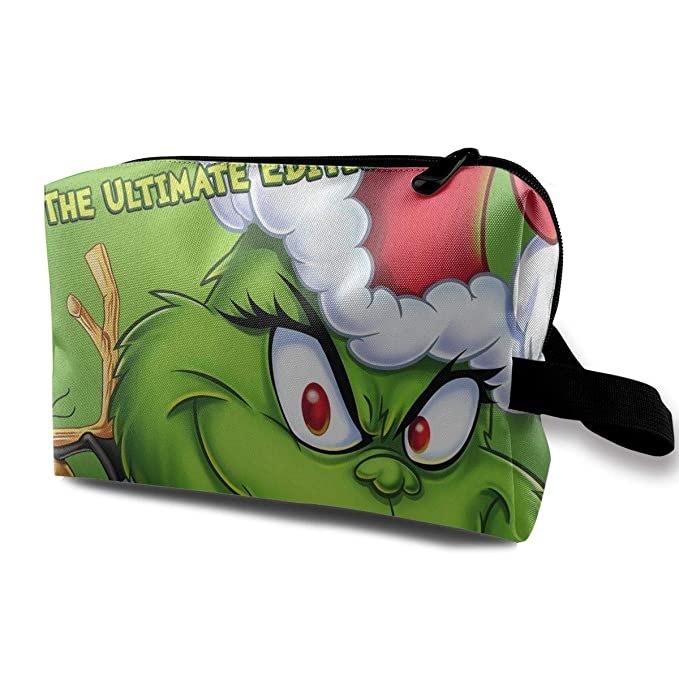 MyLoire Multifunction Travel Cosmetic Makeup Bag - The Grinch Stole Christmas Purse Organizers With Zipper