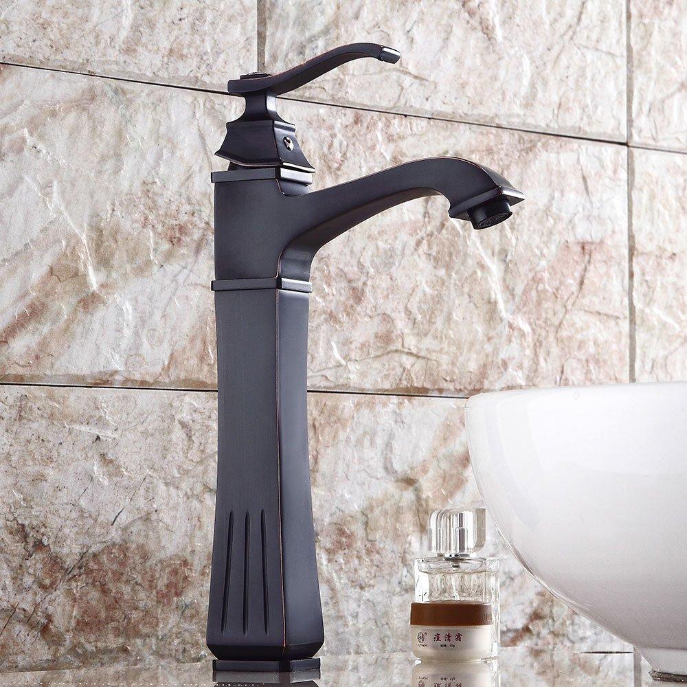 MMYNL Einlochmontage Warm und Kalt Retro Schwarz Bronze Einhebelmischer Wasserhahn Bad Armatur Waschtischmischer