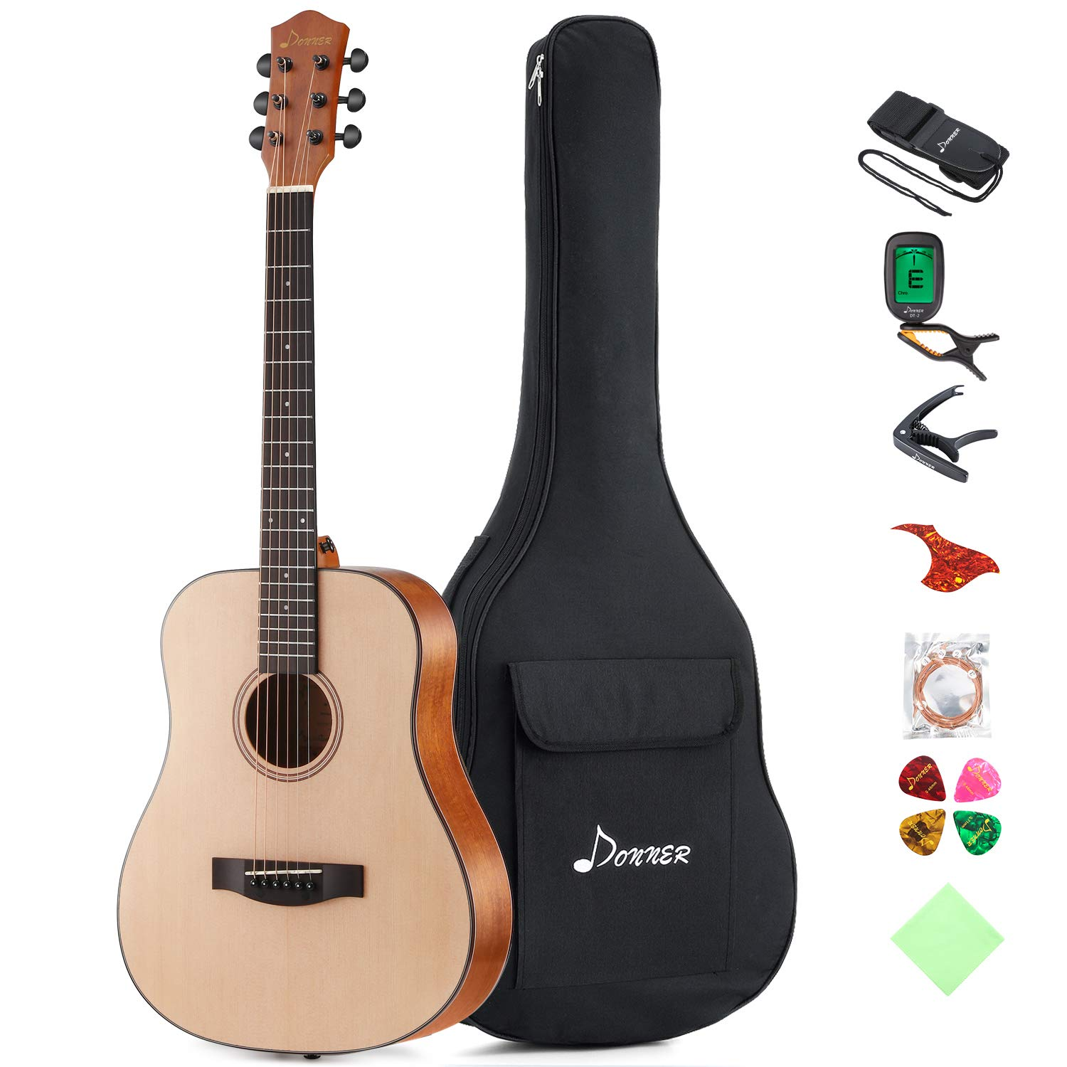 Amazon.com: Donner 36'' Dreadnought Acoustic Guitar Package 3/4 Size  Beginner Guitar Kit DAG-1M Spruce Body With Bag Capo Tuner Strap String  Guitar Picks: ...
