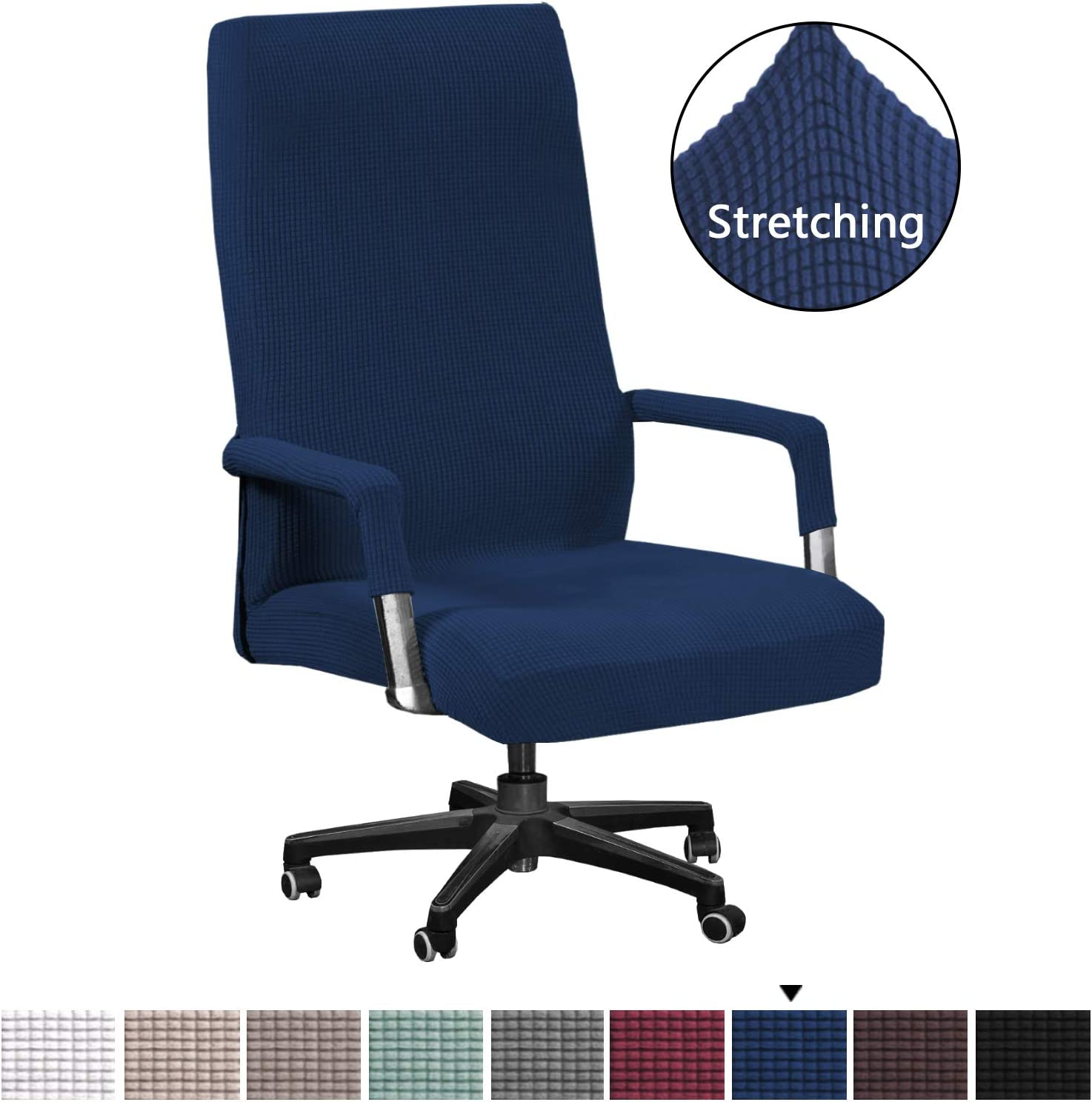 H.VERSAILTEX Computer Office High Back Large Chair Covers Stretchable Jacquard Polyester Washable Rotating Chair Slipcovers with Armrest Covers, Machine Washable/Non Skid Slipcover(Oversized,Navy)