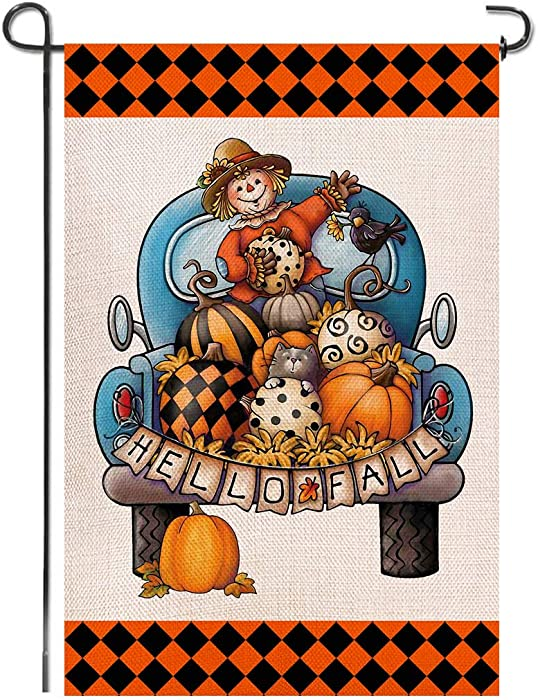 Shmbada Hello Fall Burlap Garden Flag, Double Sided Premium Material, Scarecrow Pumpkins Blue Truck Seasonal Home Decor Outdoor Decorative Flags for Yard Lawn Patio Porch Farmhouse, 12.5 x 18.5 inch
