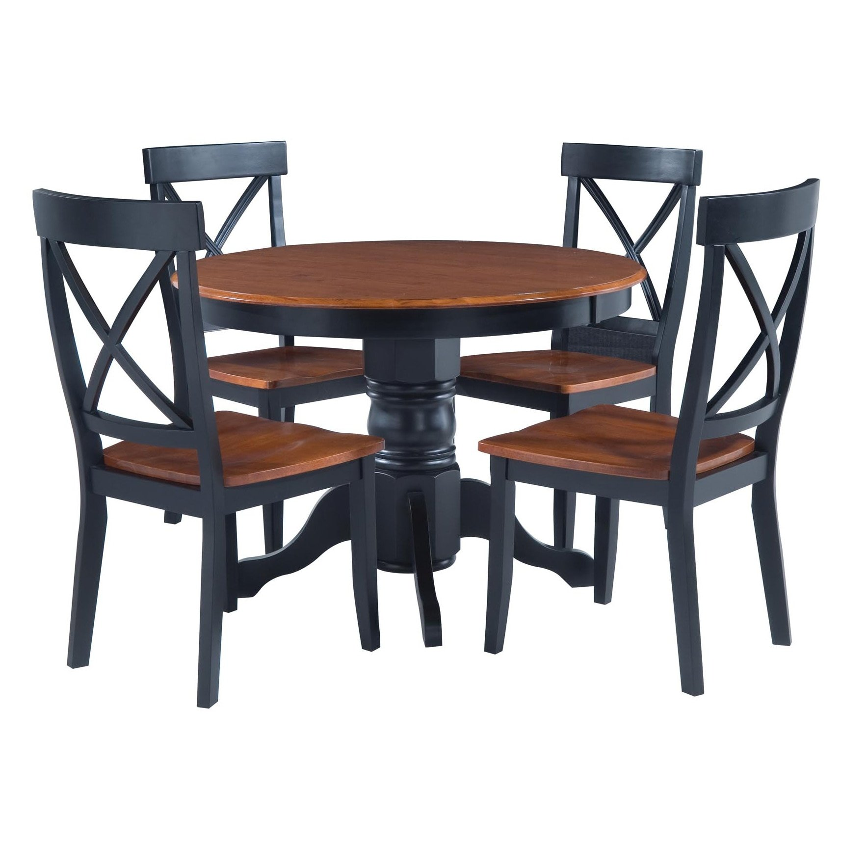 Modern 5-piece Dining Furniture Set Black and Cottage Oak Round Table and Four Chairs for Game Night or Lovely Dinners with Family Home Furniture for Dining Room or Kitchen of Solid Wood, BONUS E-book