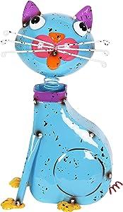 "Exhart Blue Metal Cat Statue - Cute Cat Sculpture w/Spring Bobblehead – Durable & Weather Resistant Metal Cat Lawn Art Decor Home & Garden – 11"" L x 5.5"" W x 13"" H"