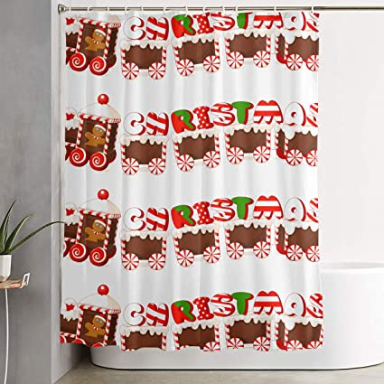 Merry Christmas Gingerbread Train Bathroom Shower Curtain Decorative Toilet Celebrate Ornament Picks Set Prints Themed All