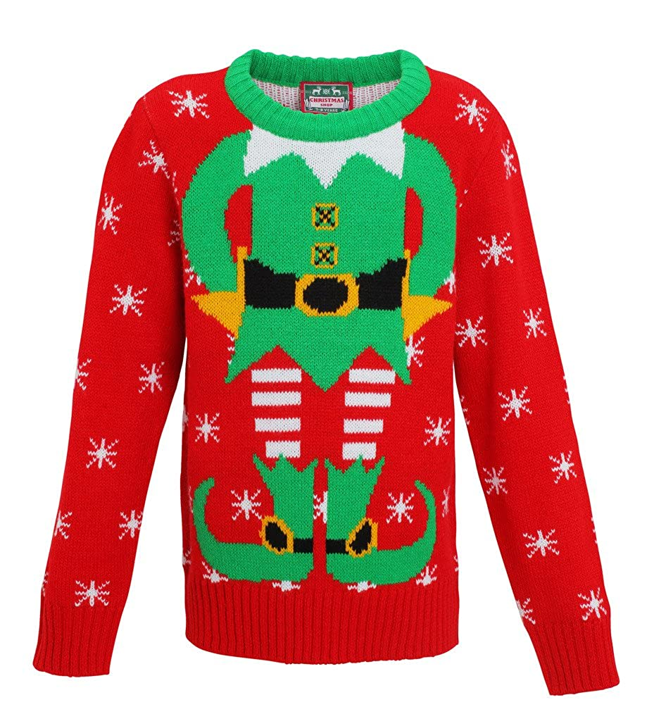 Kids elf Christmas Jumper knitted jumper-Xmas elf Boys-girls Sweater