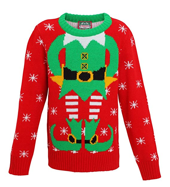 a23312dc3 Kids elf Christmas Jumper knitted jumper-Xmas elf Boys-girls Sweater-Red/