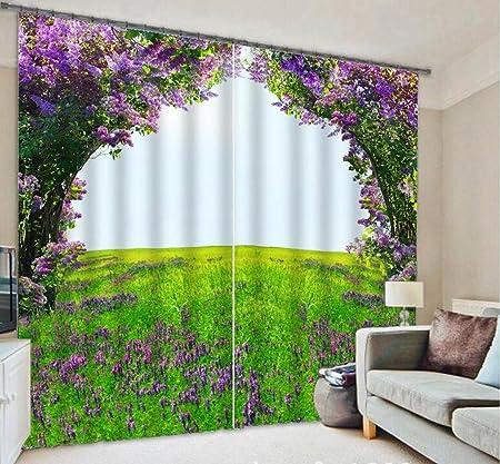 H&M Cortina Un jardín Decorado Ventana del Dormitorio cálido y Familiar Violeta UV paño de la Cortina en la Matriz 3D Impresa Telas de Las Cortinas, Wide 2.64x High 2.13: Amazon.es: Hogar