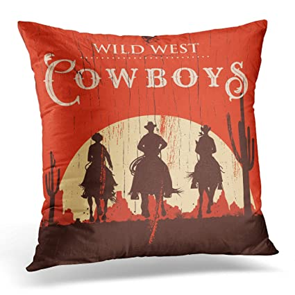 Amazon Breezat Throw Pillow Cover Western Silhouette Of Cowboys Best Western Decorative Pillows