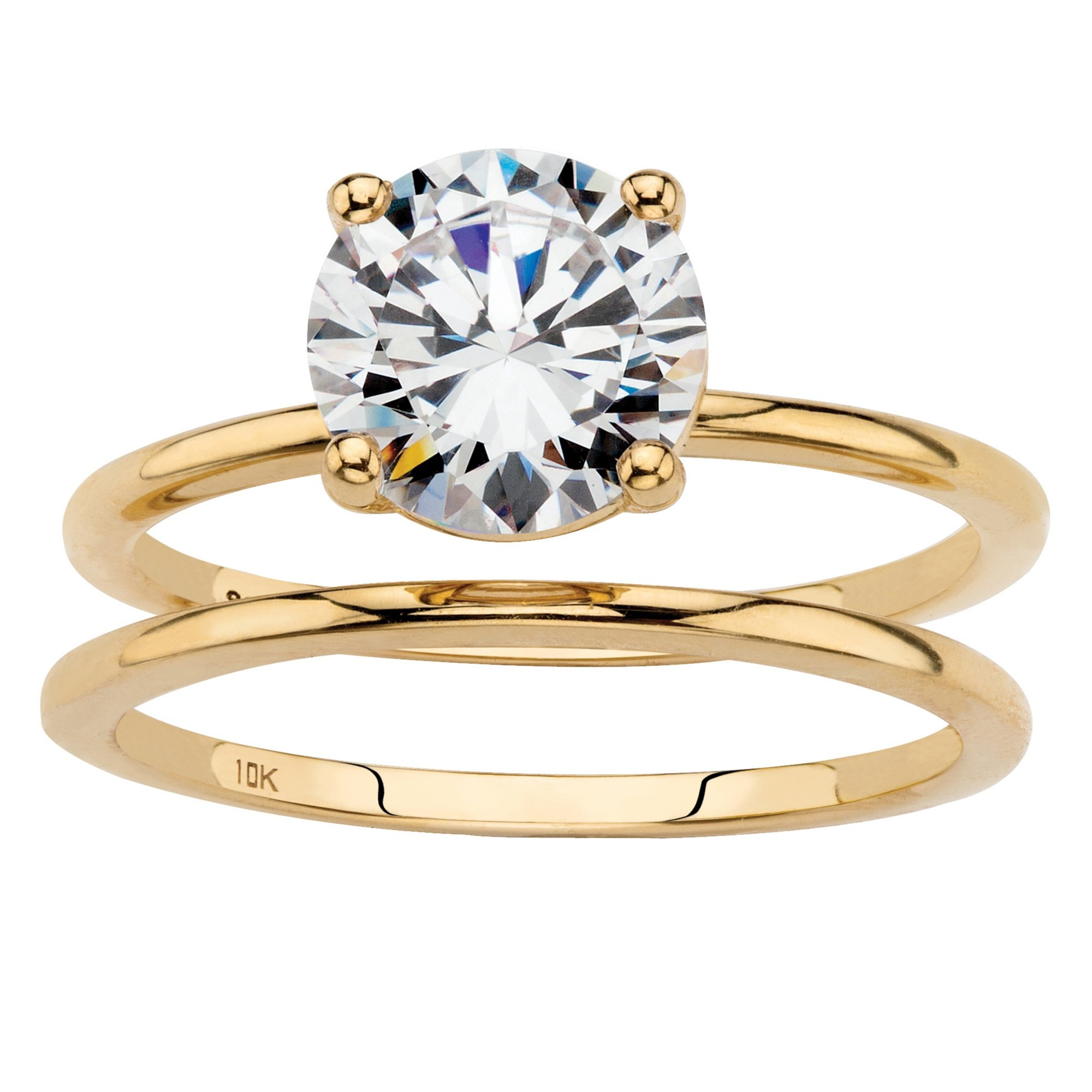Solid 10K Yellow Gold 2-Piece Solitaire Bridal Ring Set, Round Cubic Zirconia Size 8