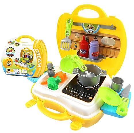 Happy Cherry Maletín de Mini Estufa de Cocina de Simulación con Muchos Accesorios Juguete Infantil para