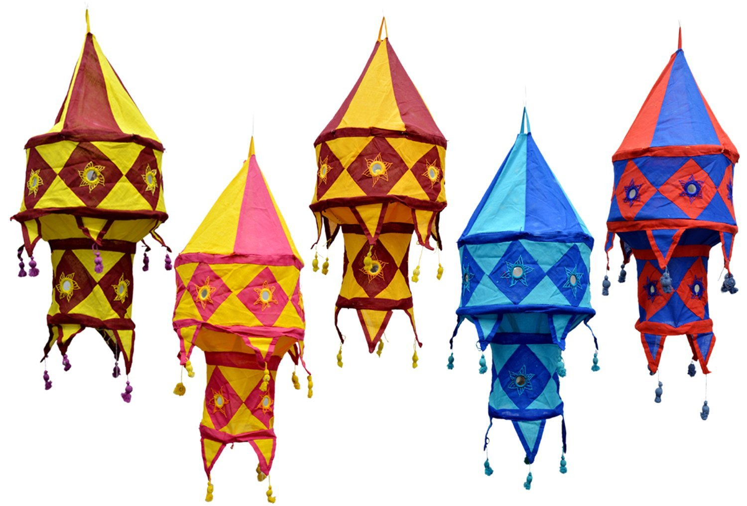 5pcs-25pcs Indian Traditional Hanging Lamps shades Patchwork Mirror Work Home Decor 2 Layer
