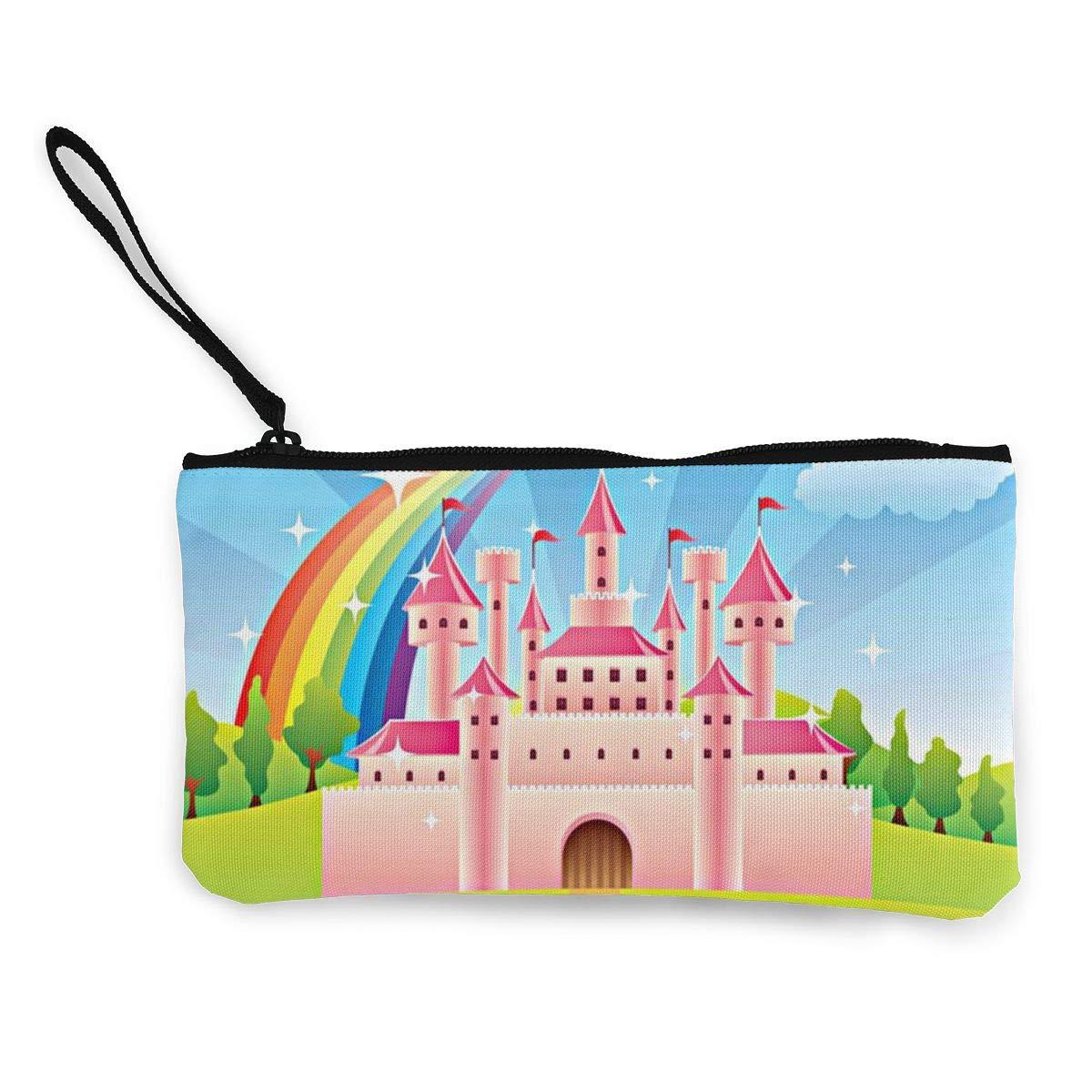 Maple Memories Castle Rainbow Portable Canvas Coin Purse Change Purse Pouch Mini Wallet Gifts For Women Girls