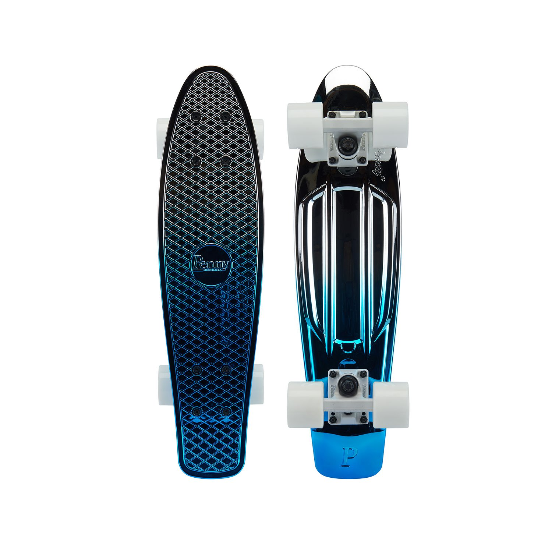Penny Metallic Graphic Skateboard - Blue Silver 22''