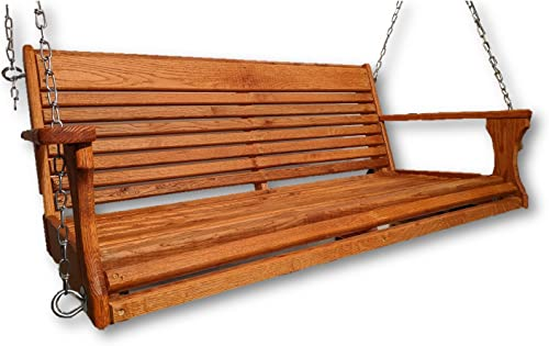 Wormy Red Oak Porch Swing with Chain Set